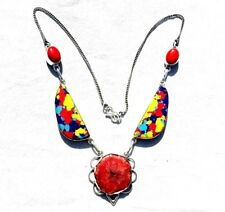 Multi-Color Stone Handmade Necklace 18-24 Inch Silver Overlay