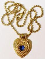 collier chaine pendentif bijou vintage couleur or coeur saphir imitation * 4272