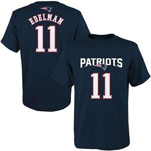 New England Patriots NFL Youth Boys Edelman #11 Navy Short Sleeve T-Shirts: 4-18