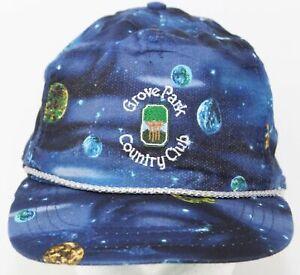 Vintage 1970s Grove Park Country Club Hat Planets Print Derby Cap Louisville KY