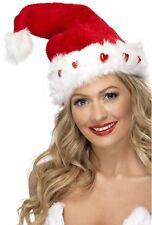 femme rouge/blanc illuminé NOËL SANTA Festif chapeau déguisement
