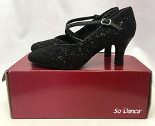 "So Danca 2.5"" Sparkle Black Ballroom Dance Shoes, BL504, Womens Size 9, New"