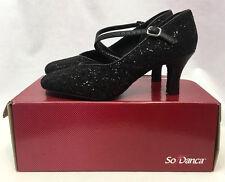 "So Danca 2.5"" Sparkle Black Ballroom Dance Shoes, BL504, Womens Size 7, New"