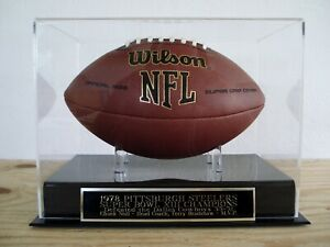 Pittsburgh Steelers Football Display Case With A Super Bowl XIII Nameplate