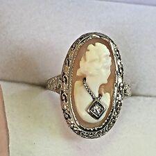Estate Antique Victorian 14k White Gold Filigree Diamond Cameo Ring Sz 6.1/2