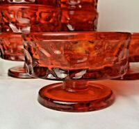 VTG 9 FOOTED HONEYCOMB GLASS FRUIT BOWLS / DESSERT/ SHERBET DISHES / ICE CREAM