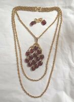 Rare Crown TRIFARI Amber Brown Waterfall Lucite Bead Necklace Earrings Set Mint