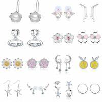 Fashion New 2020 Silver Flower Pearl Ear Stud Earrings Zircon Women Cute Jewelry