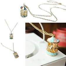Cute Enamel Rhinestone Carousel Round Horse Long Necklace Sweater Pendant Chain