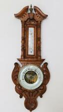 More details for antique barometer & thermometer carved european oak