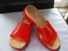 .GRUPPO ITALIANO WOOD CLOGS WITH CLEAR TOMATO RED VINYL TOP size 8-8 1/2M