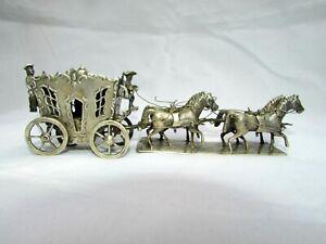 ANTIQUE DUTCH SXIX 19th C SOLID SILVER HORSE CARRIAGE MINIATURE FULL HALLMARKS