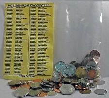 100 World Foreign Coins From 100 Different Countries. Free identifier list!
