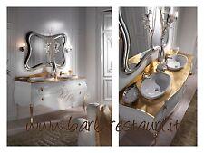 Mobile Bagno Bombato Doppio Lavabo Barocco Massello Laccato Top Cristal Oro