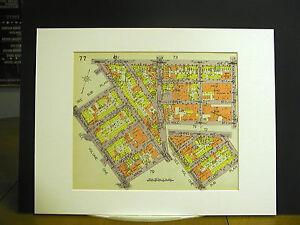 Brooklyn Map 1929 Matted ARION BROADWAY BUSHWICK EVERGREEN FLUSHING ELLERY PARK