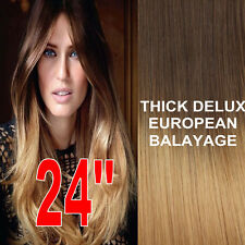 THICK DIP DYE 4/27 BALAYAGE OMBRE CLIPIN REMY HUMAN HAIR EXTENSIONS Brown BLONDE