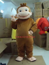 New Professional Curious George Monkey Mascot Costume Fancy Dress Adult Size EPE