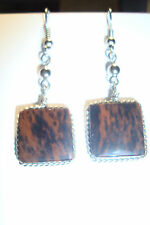 Peruvian Alpaca Silver& Mahogany Obsidian Gemstone Drop Earrings, SP55~uk seller