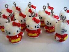 20 Red Kimono Kitty Cat Charm/Bead/Bow/DIY Craft/Embellishment/Beading/Kids K50