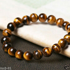Natural Tiger Eye Stone 8mm Beads Men Jewelry Bracelet Elastic Bangle