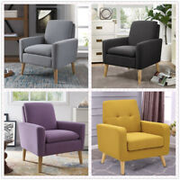 Modern Tufted Accent Arm Chair Single Sofa Linen Fabric Upholstered Living Room