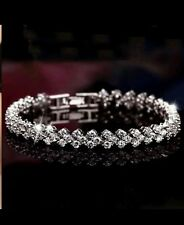 925 SILVER CRYSTAL ZIRCON Bracelet ANKLET CHAIN UNISEX WEDDING BRIDAL gift + bag