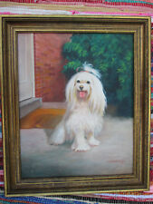 """Vintage MALTESE Dog """"Painting"""" Hecht Company Mass Production 16x20"""