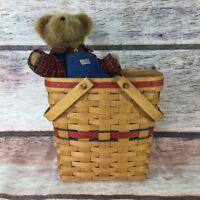 "1991 Longaberger Two Quart Basket 9.5x5x9.5"" & Boyds Bear Farmer Macbruin 803127"