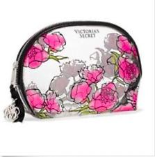 VICTORIA'S SECRET  MAKEUP COSMETIC ZIPPER BAG CLEAR ROSES PINK FLORAL CASE POUCH