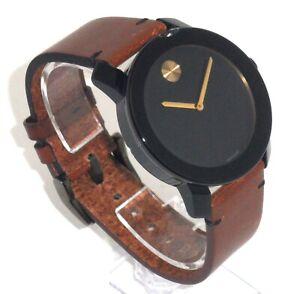 MOVADO BOLD $395 MEN'S BLACK/GOLD CASE, BROWN LEATHER STRAP SWISS WATCH 3600305