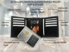 AG Wallets Mens Trifold wallet, Cowhide Leather, Multi Card Holder with Gift Box