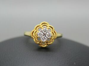Vintage Ring - 585 Gelbgold Gold - 0,25ct Diamant Brillanten Brillant Gr. 57,5