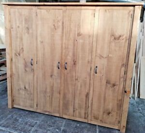 SOLID WOOD RUSTIC CHUNKY PLANK QUAD DOOR ROBE WITH WOODEN CHUNKY LEGS,