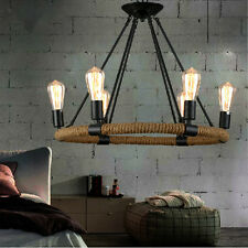 Vintage Pendant Lighting Rope Industrial Chandelier Kitchen Island Ceiling Light