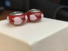 Authentic Pandora Sterling Silver Red Heart 2 Murano Charms Pink Hearts 790658