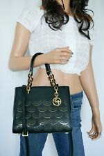 NWT MICHAEL KORS SOFIA PERFORATED MD NS SATCHEL LEATHER SHOULDER BAG BLACK