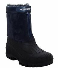 WOMENS LADIES GROUNDWORK WARM LINING WINTER SNOW MUCKER ZIP WIDE BOOTS WELLIES