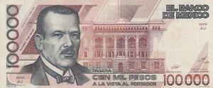 Mexico: $ 100,000 Pesos Plutarco Elias Calles Jan 4, 1988.