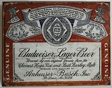 HISTORIC BUDWEISER LABEL METAL SIGN Anheuser Busch Brewery Logo NEW Beer Repro