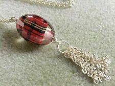 Tartan Beaded Tassel Pendant on Silver Plated Chain