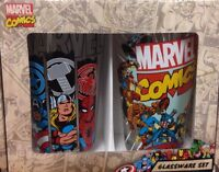 NEW!  Marvel Comics 16oz. Glassware Set of Two Drinking Glasses