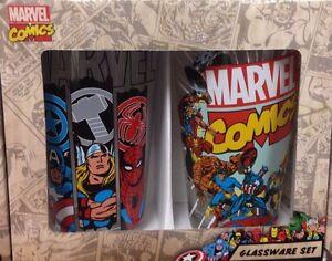 NEW!  Marvel Comics 16oz. Glassware Set of Two Drinking Glasses