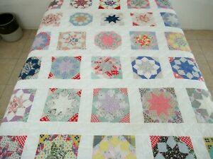 QUEEN 30 Vintage Feed Sack Blocks On Machine Sewn Clamshell ROLLING STAR Quilt