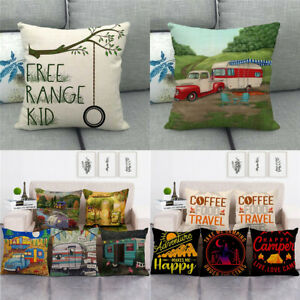 Holiday Travel Camping Touring Car Color Painting Throw Cushion Pillow Covers