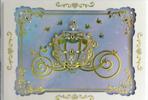 "Fabulous Papyrus Disney Wedding card - Cinderella Carriage w/ Gold & ""Diamonds"""