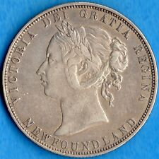Canada Newfoundland 1874 50 Cents Fifty Cents Silver Coin - EF (cleaned)