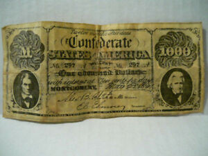 1861 $1000 ONE THOUSAND Dollars Confederate States of America Currency