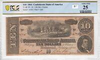 Confederate 1864 $10 PCGS Banknote Certified Very Fine VF 25 T 68 PF 20 CR 546