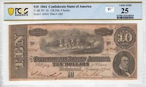 Confederate 1864 $10 PCGS Banknote Certified Very Fine VF 25 T 68 PF 20 CR 546