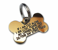 REINFORCED Dog ID Collar Tags - Deeply engraved for FREE, Bone 43x25mm